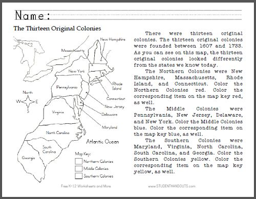 Name Game  The 13 Original Colonies