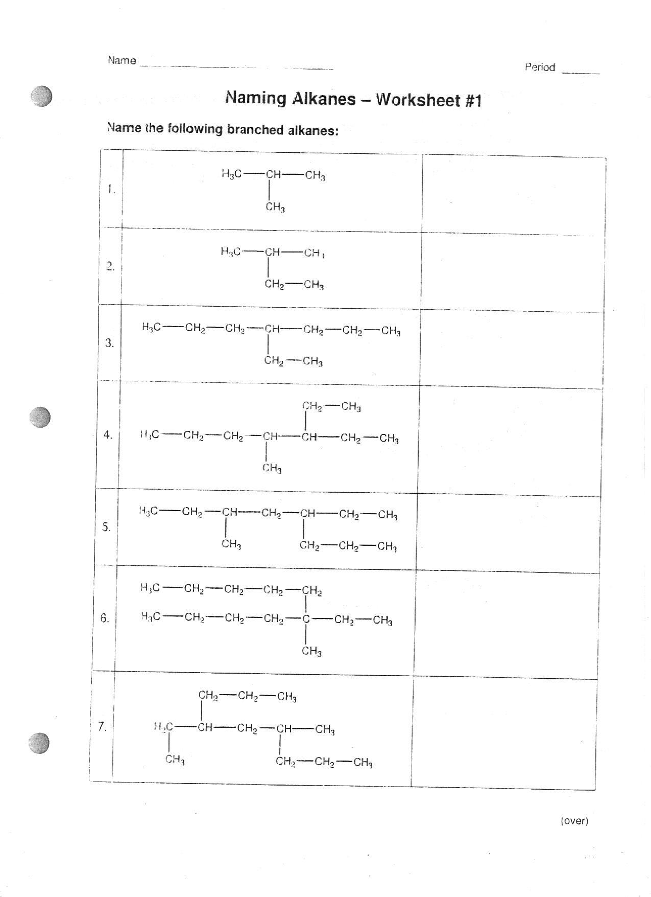 Naming Alkanes Worksheet The Best Worksheets Image Collection