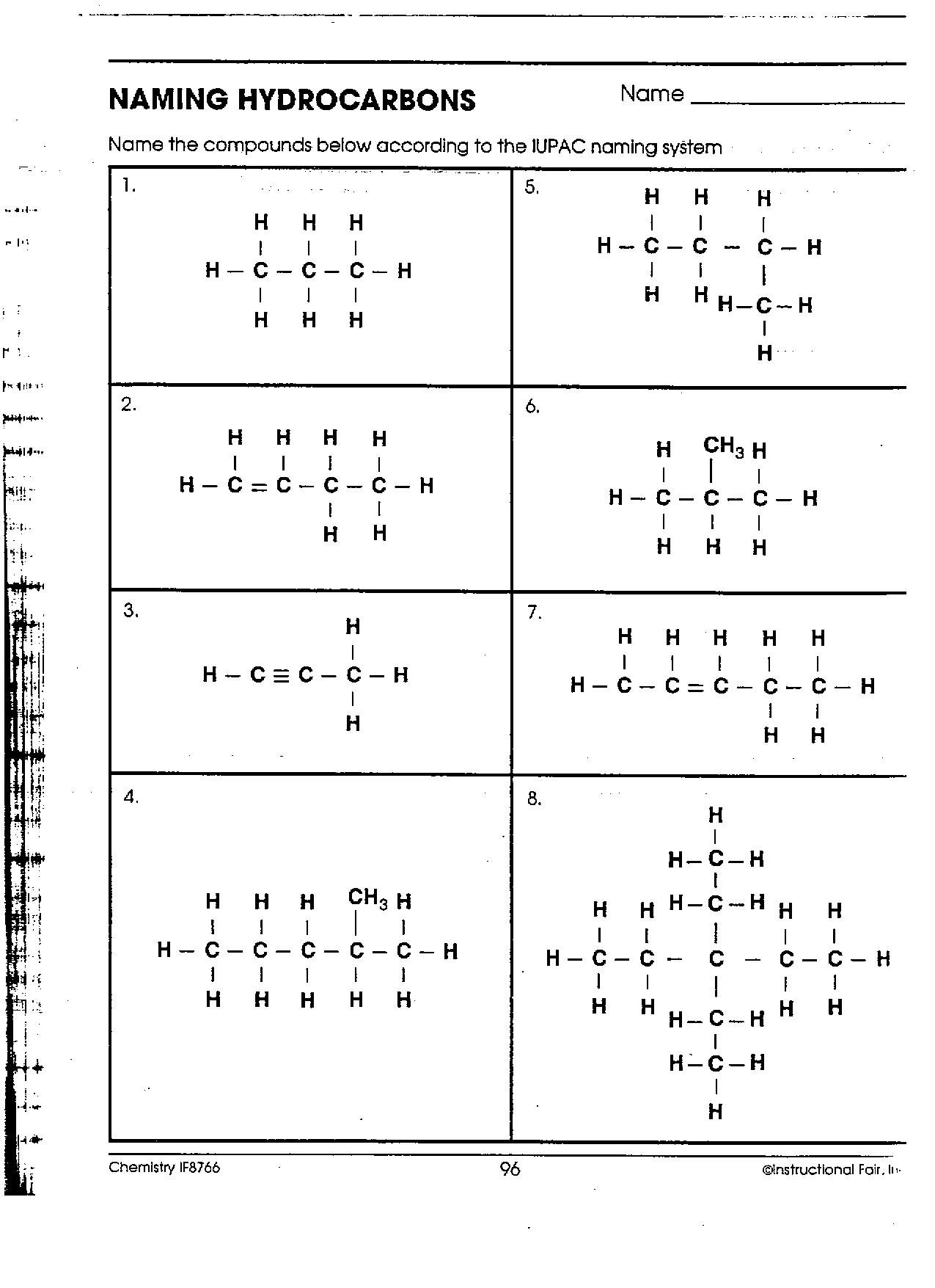 Naming Hydrocarbons Worksheet The Best Worksheets Image Collection