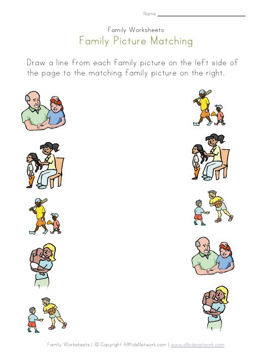 New 337 Family Matching Worksheets