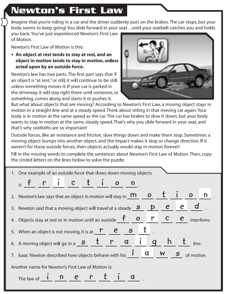 Newton S First Law Of Motion Worksheet Worksheets For All