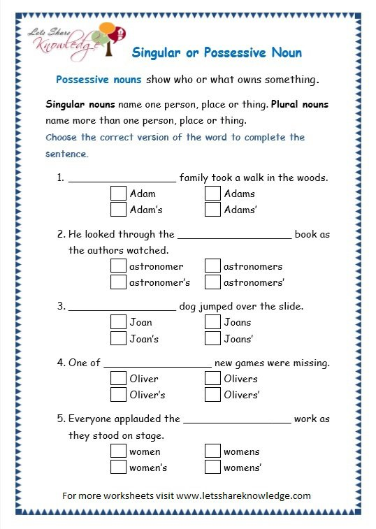Nouns Exercises For Grade 3
