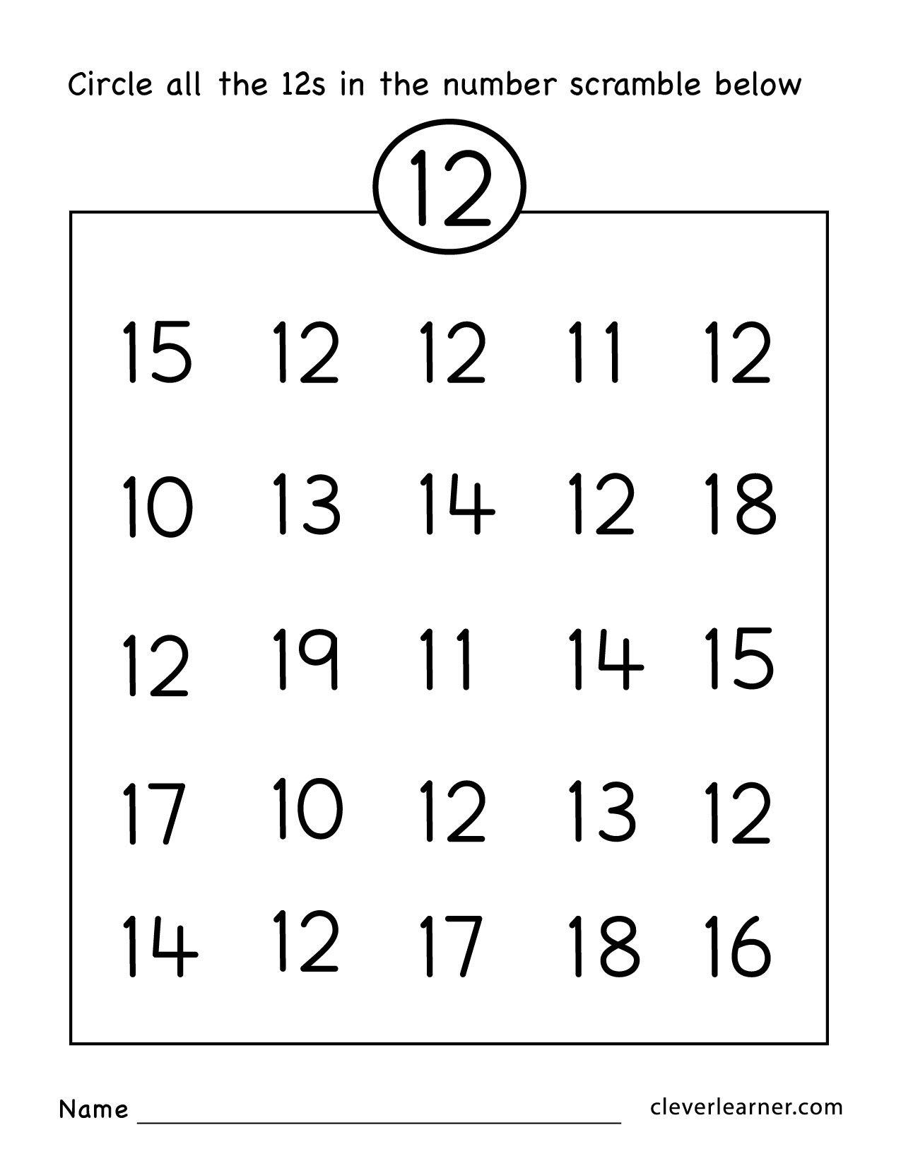 Number 12 Worksheet For Preschool The Best Worksheets Image