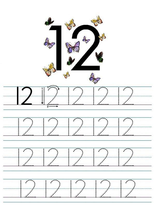 Number 12 Worksheet For Writing Number Practice