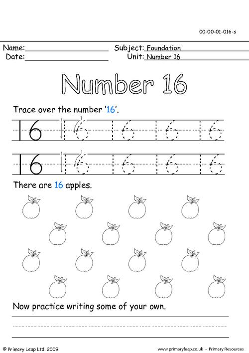 Number 16 Worksheets Worksheets For All