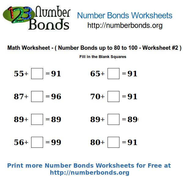 Number Bonds Math Worksheet From 80 To 100 Worksheet  2