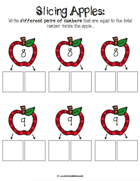 Number Bonds With Apple Slices {free Printables!}
