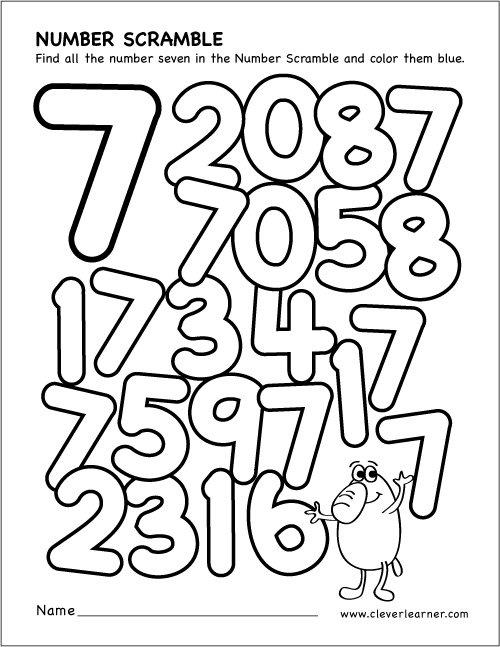 Number Scramble Activity Worksheet For Number 7 For Preschool Children