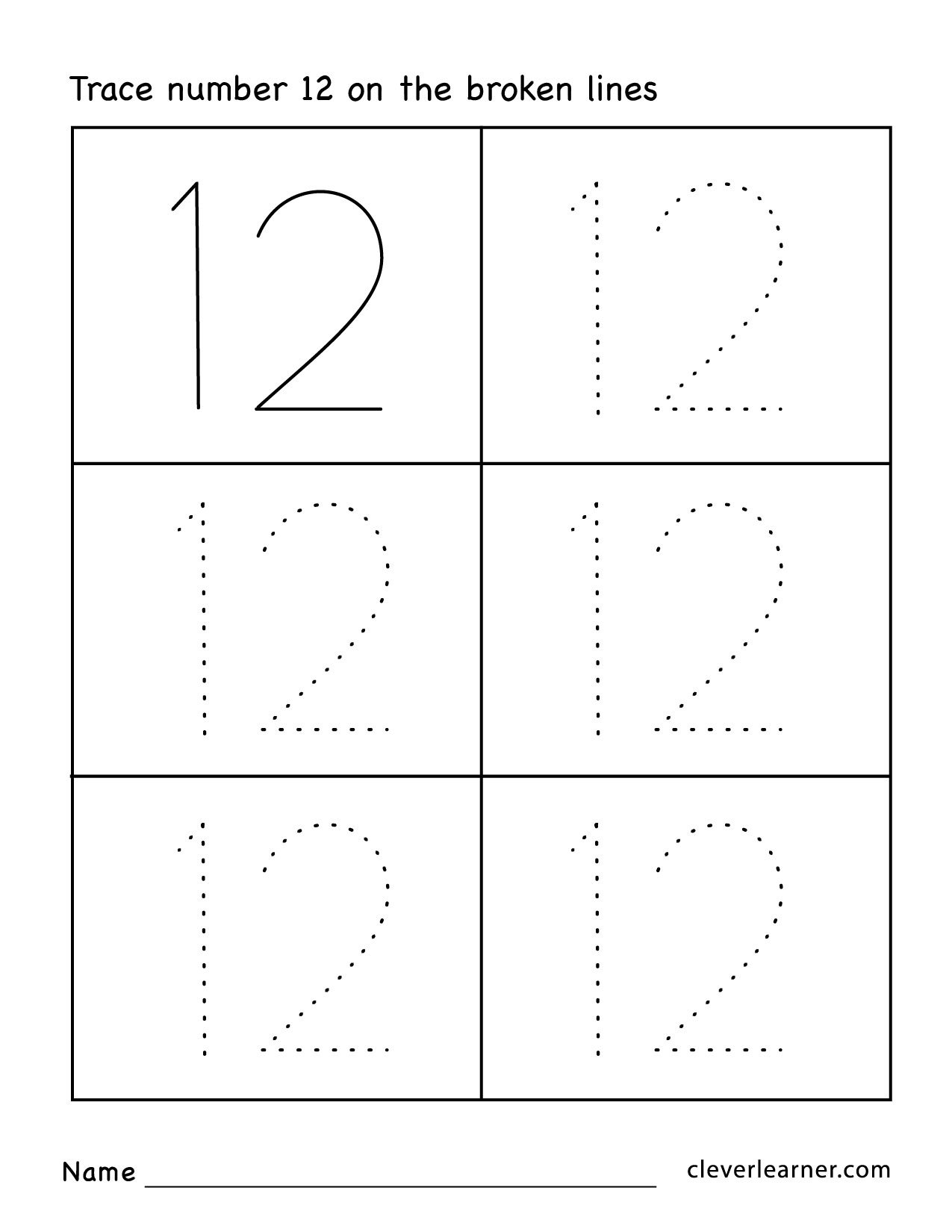 Number Twelve Writing Counting And Identification Printable