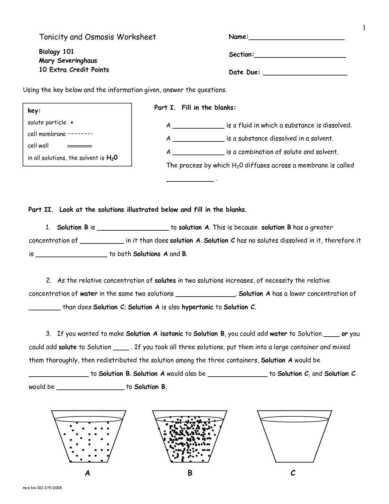 Of Osmosis Worksheet Answers Osmosis And Tonicity Worksheet Answer