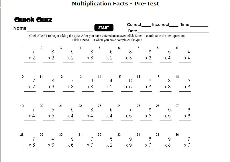 One Minute Multiplication Drill Worksheets 60 For 5 Grade