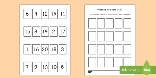 Ordering Numbers Game 1 20 Worksheet   Activity Sheet