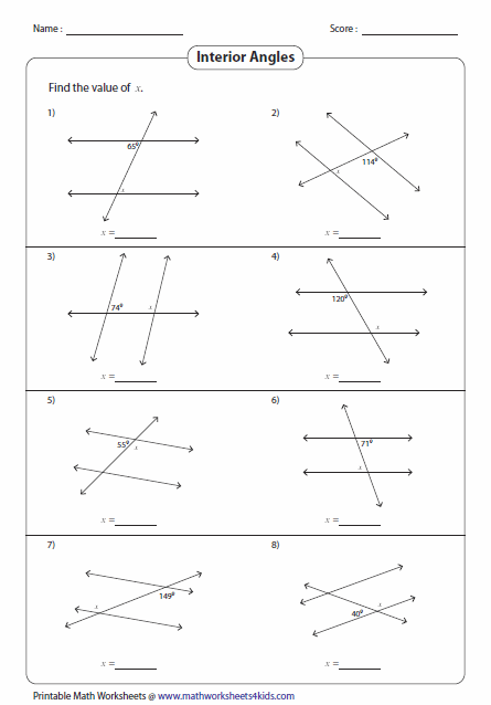 Parallel Lines And Transversals Worksheet Parallel Lines And