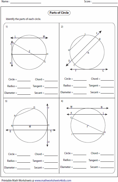 Parts Of A Circle Worksheet Medium Large Plus Circumference And