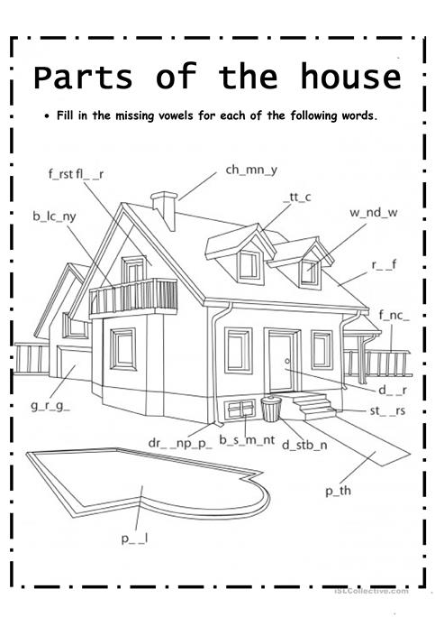 Parts Of House Worksheet