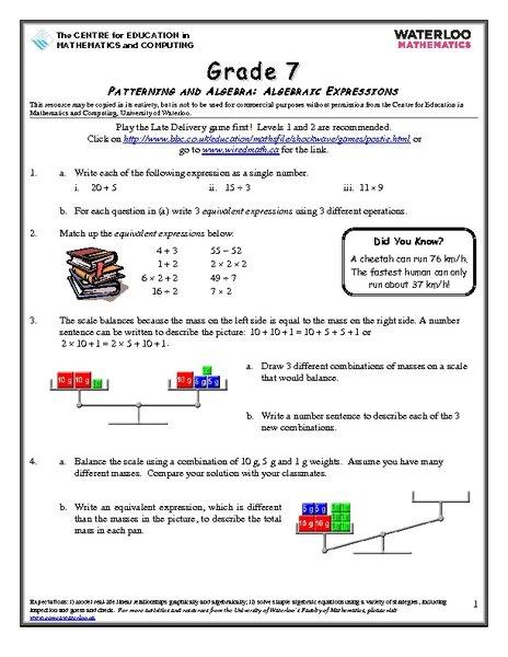 Patterns Worksheet Year 7