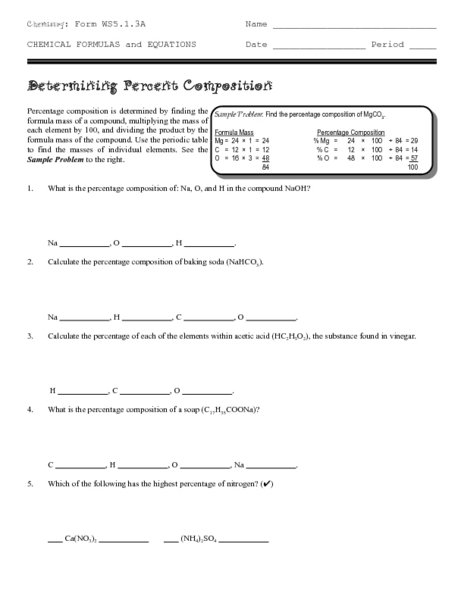 Percent Composition Worksheet Percent Composition Worksheet 2