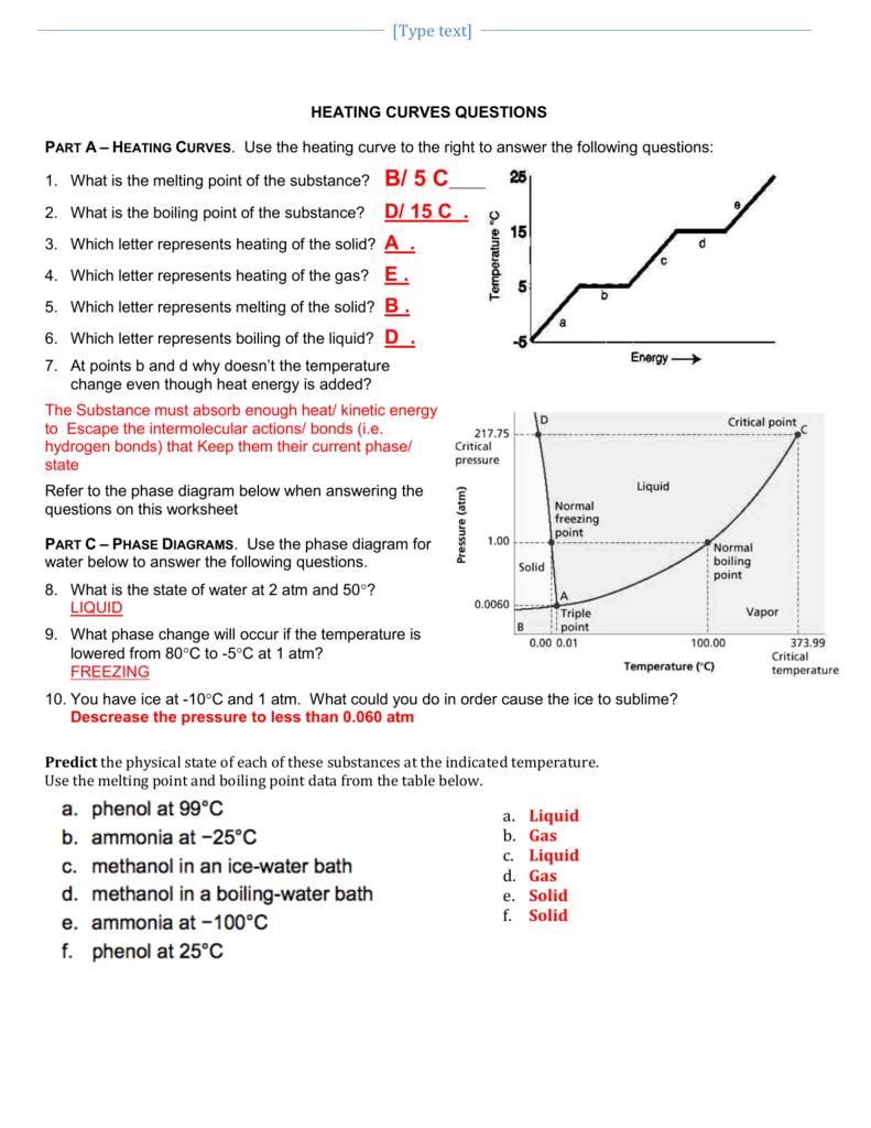 Phase Change Worksheet Pre Lab
