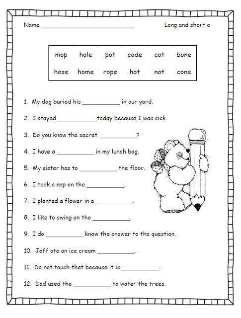 Phonic Worksheets For Second Grade