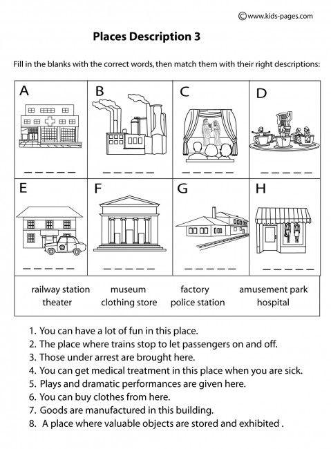 Place Descriptions 3 B&w Worksheets