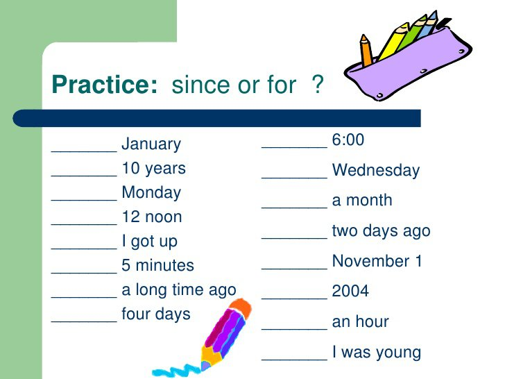 Pleasing Worksheets Present Perfect For And Since For Your Present