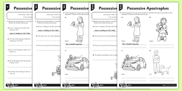 Possessive Apostrophes Differentiated Worksheet   Activity Sheet