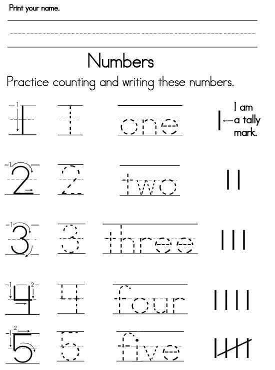 Pre K Number Worksheets