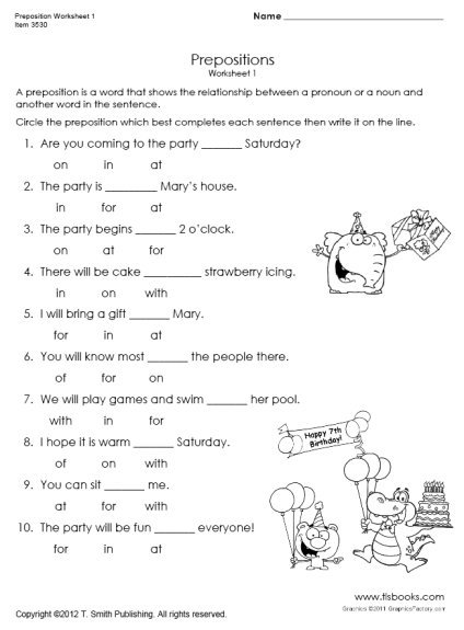 Preposition Worksheets Circle The Prepositions Worksheet For First