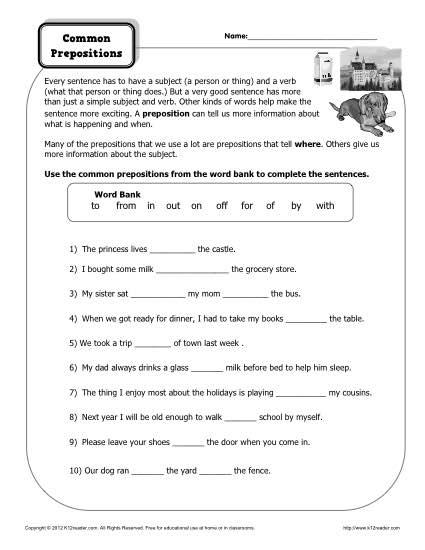 Preposition Worksheets Preposition Worksheet Common Prepositions