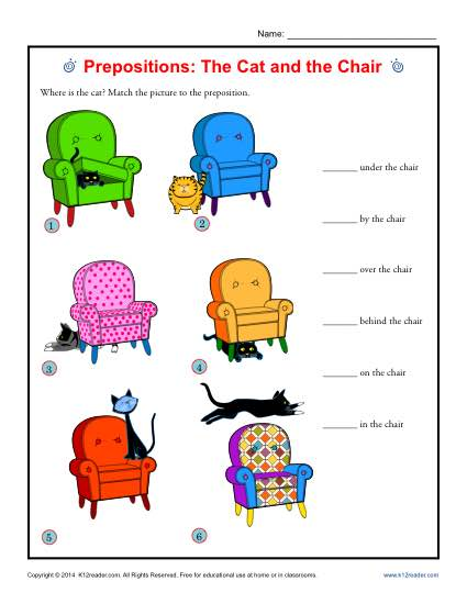 Preposition Worksheets Prepositions The Cat And The Chair