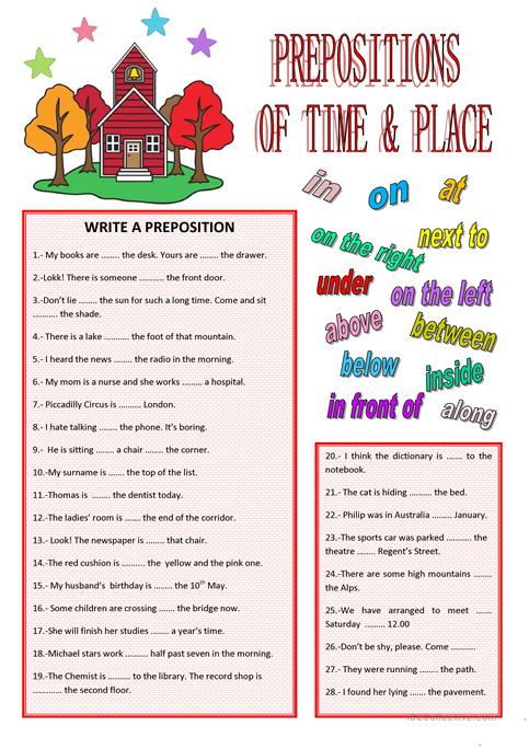 Prepositions Of Time And Place Worksheet