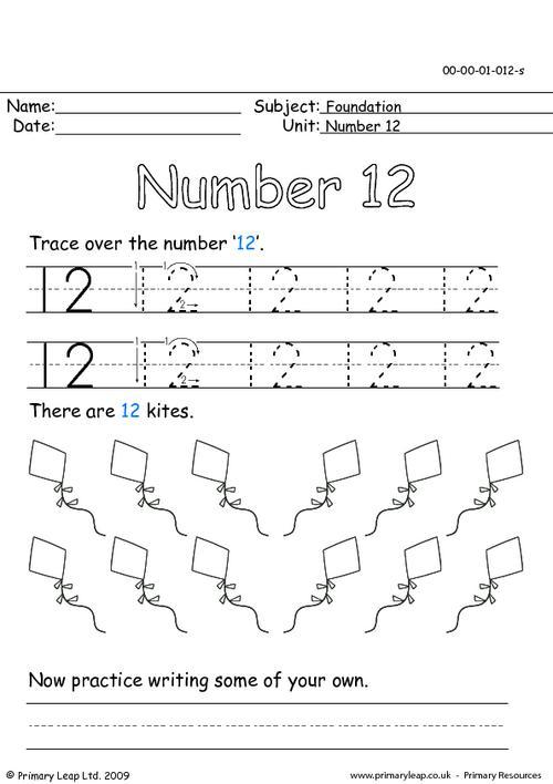 Preschool Number 12 Worksheets For All