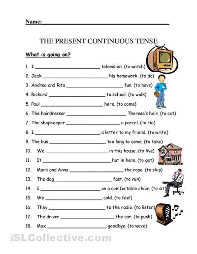 Present Continuous Worksheets Worksheets For All