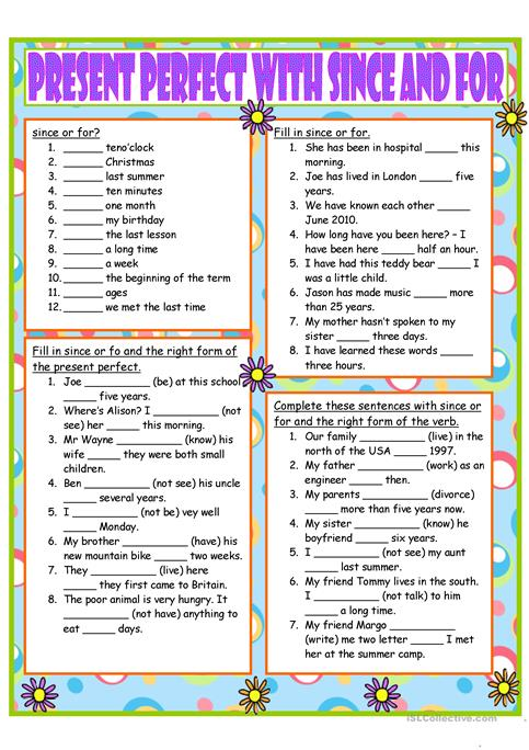 Present Perfect With Since And For Worksheet