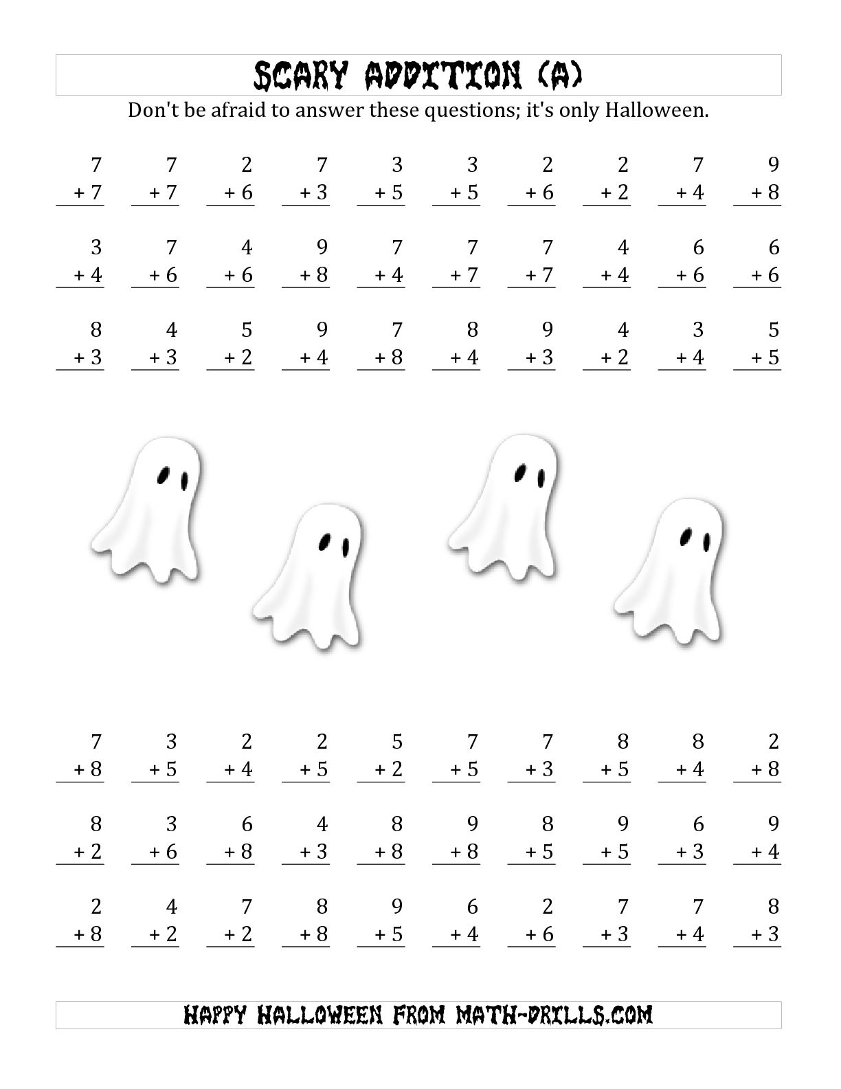 Pretty Halloween Math Addition Worksheets Contemporary