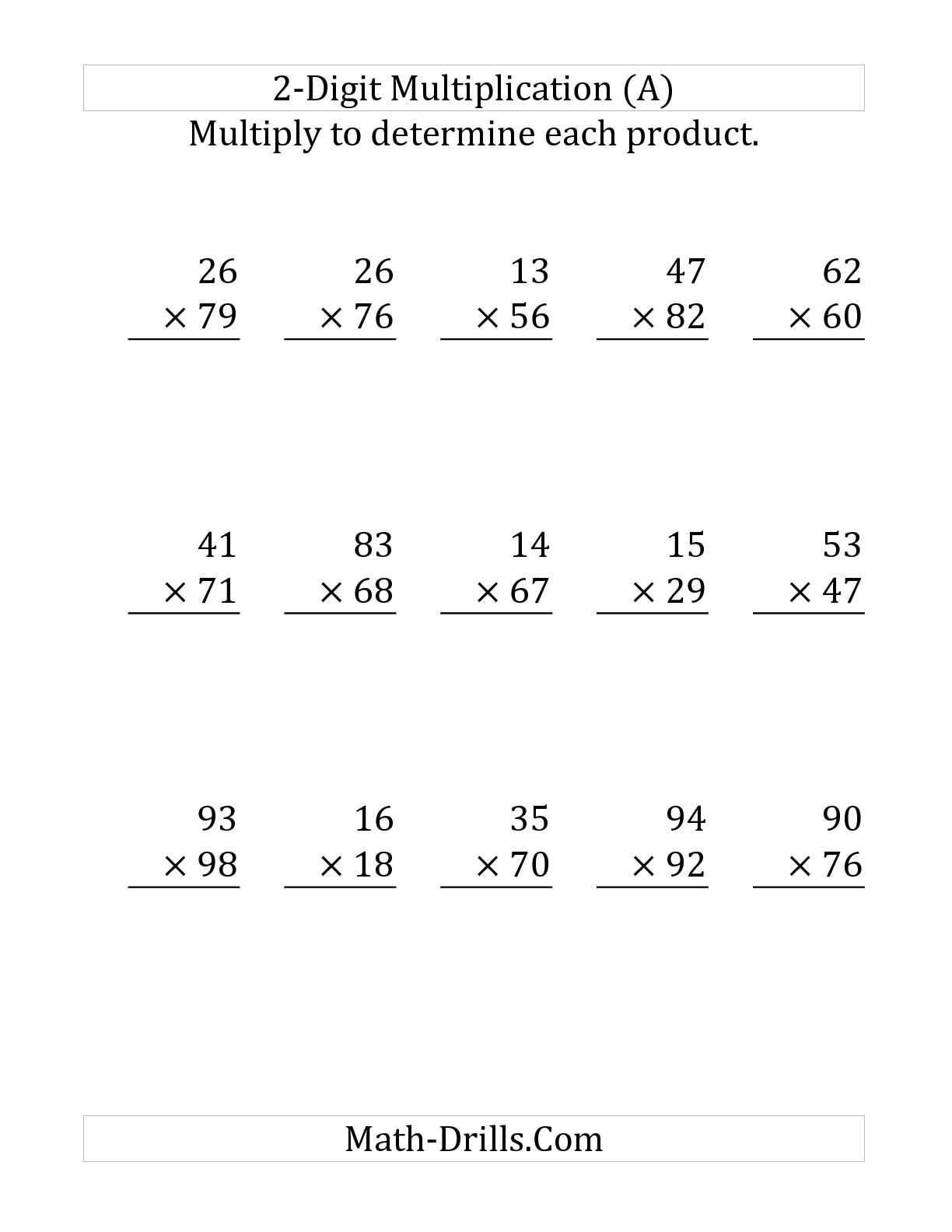 Printable 2 Digit Multiplication Worksheets 2 By 2 Digit