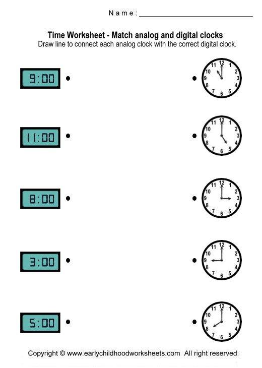 Printable Clock Worksheets For Kindergarten Worksheets For All