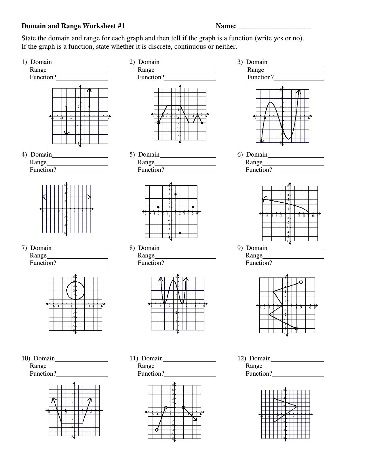 Printable Math Worksheet Domain And Range