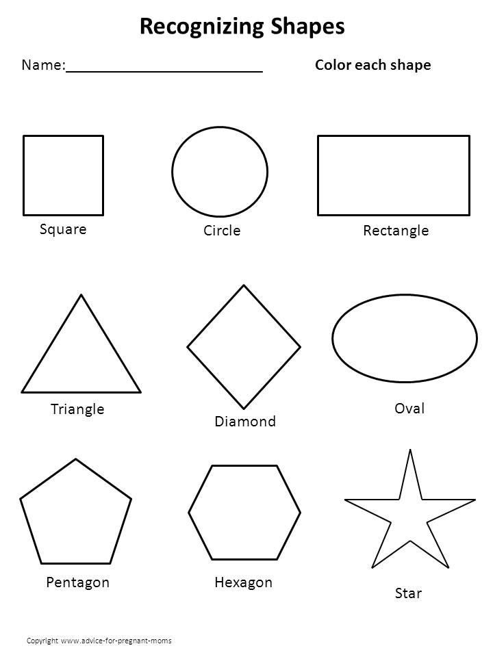 Printable Shapes Worksheets For Kindergarten