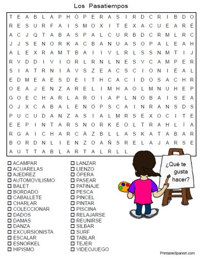 Printable Spanish Freebie Of The Day  Los Pasatiempos Word Search
