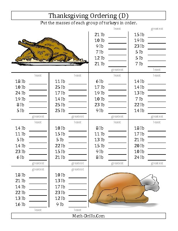 Printable Thanksgiving Math Worksheets Gallery