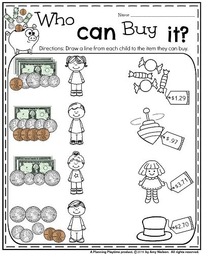 Printable Worksheets For 2nd Grade Money