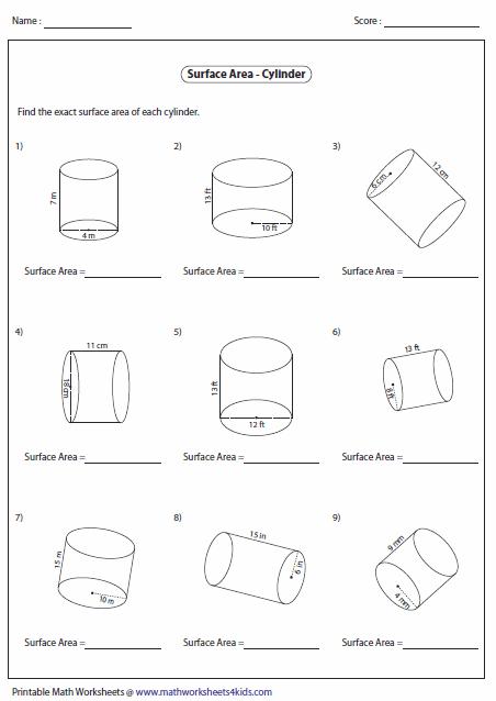 Printable Worksheets For Volume Of A Cylinder