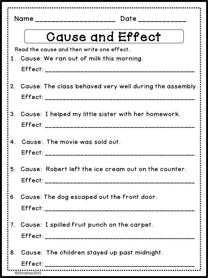 Printables  Cause And Effect Worksheets For 4th Grade  Gotaplet