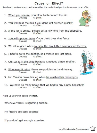 Printables  Cause And Effect Worksheets For Middle School