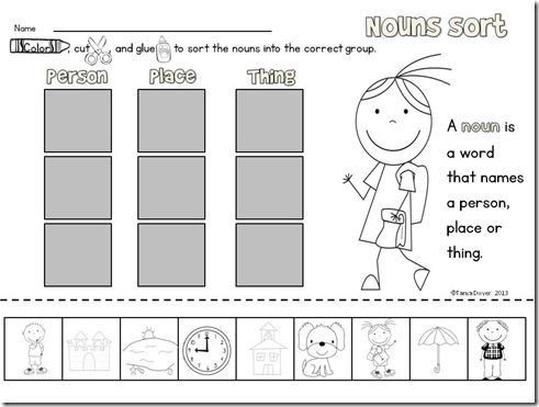Printables  Noun Worksheets For Kindergarten  Freegamesfriv