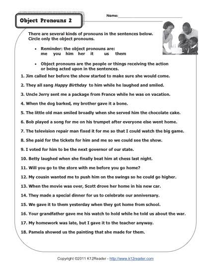 Pronoun Worksheet For 2nd Grade Worksheets For All
