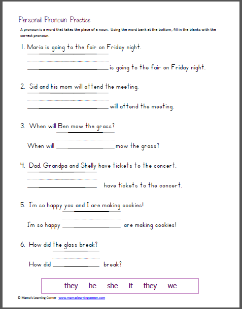 Pronoun Worksheets 2 Nd Grade Therefore Personal Practice