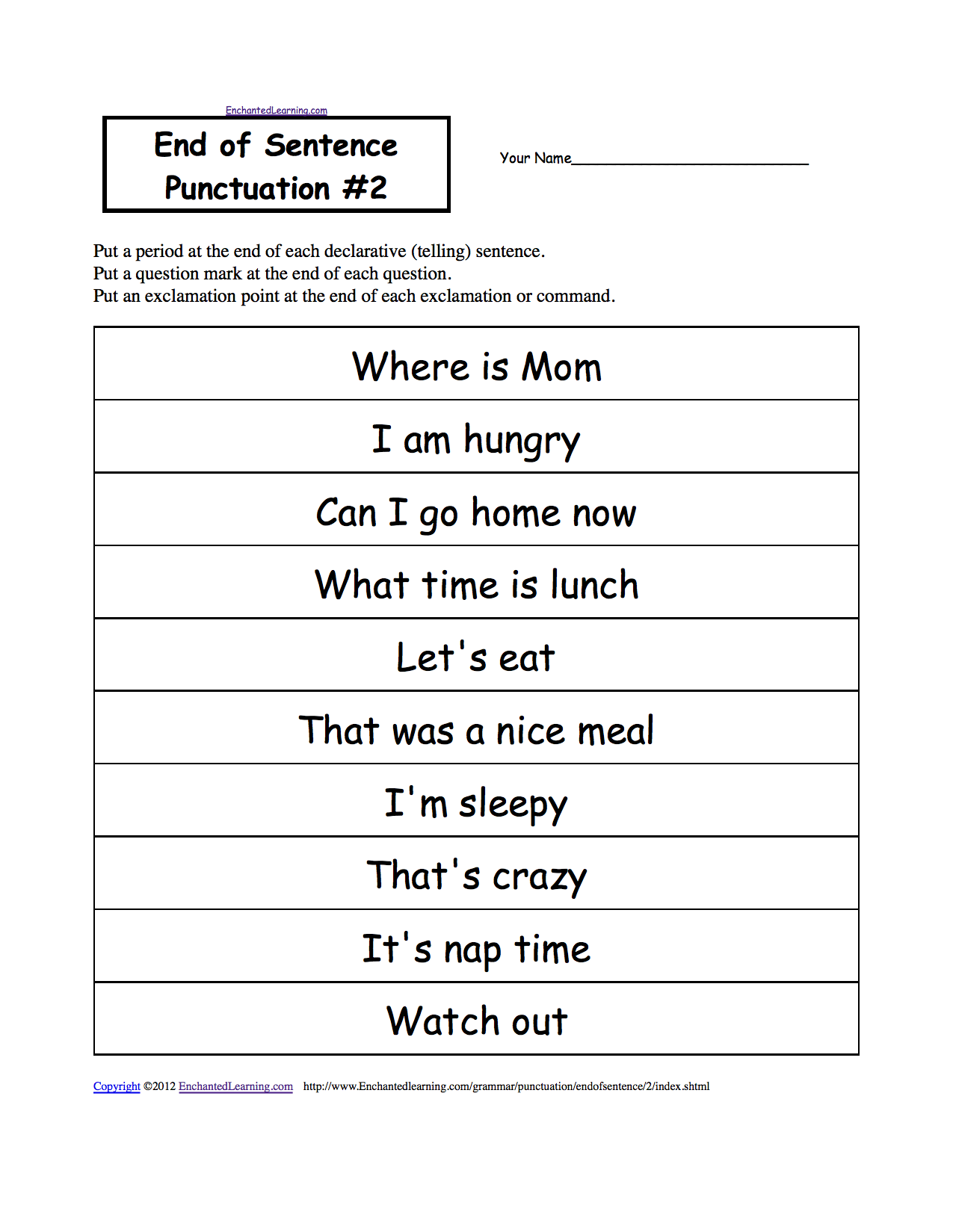 Punctuation Worksheets For First Grade