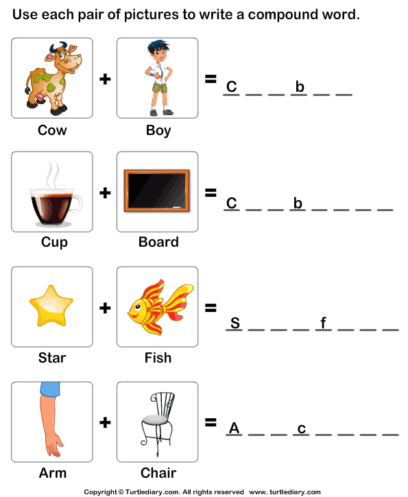 Put The Words Shown By Pictures Together Worksheet